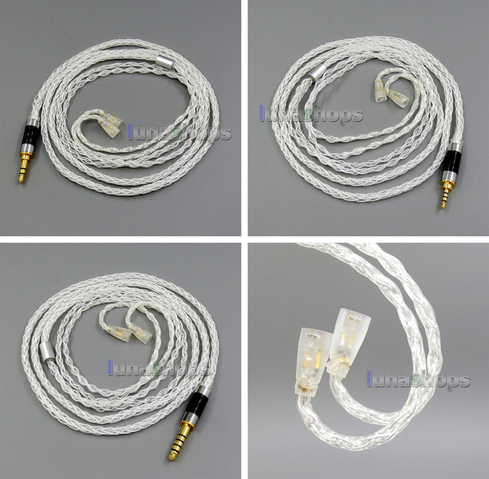 2.5mm 2.5mm 4.4mm 8 core Balanced Pure Silver Plated OCC Earphone Cable For Sennheiser IE8 IE80 IE800 ie8i LN006102 diy ie800 earphone bass silver plated wire