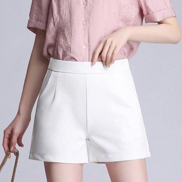 4XL Plus Size Chiffon Women Shorts Summer 2019 Solid Color White Black High Waist Causal Loose Elegant Office Lady Shorts Pants