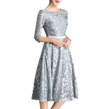 7f823b4683 Otoño Invierno vestido de las mujeres 2018 elegante Sexy gris azul vestido  de encaje Vintage largo