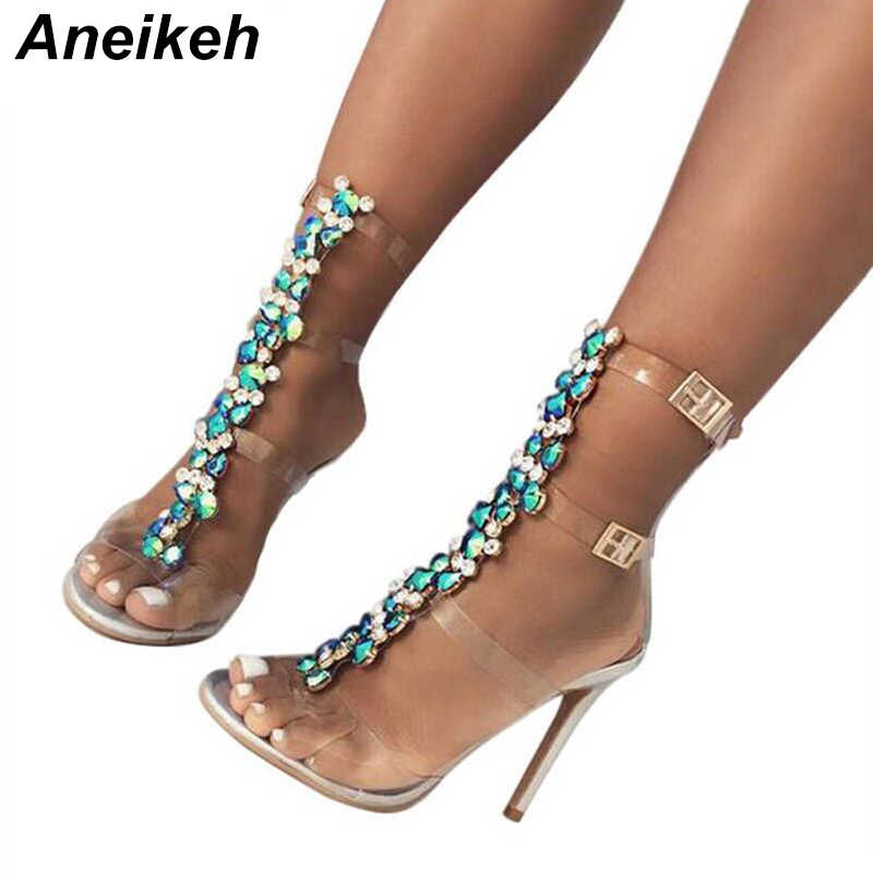 Aneikeh 2018 New Silver Women's Sandals Sexy PVC Transparent Gladiator Sandals Woman Open Toe T-strap Rhinestone High Heel Shoe