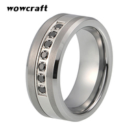 8mm Black Tungsten Carbide Ring with CZ Stones Mens Wedding Band Brushed Polished Comfort Fit