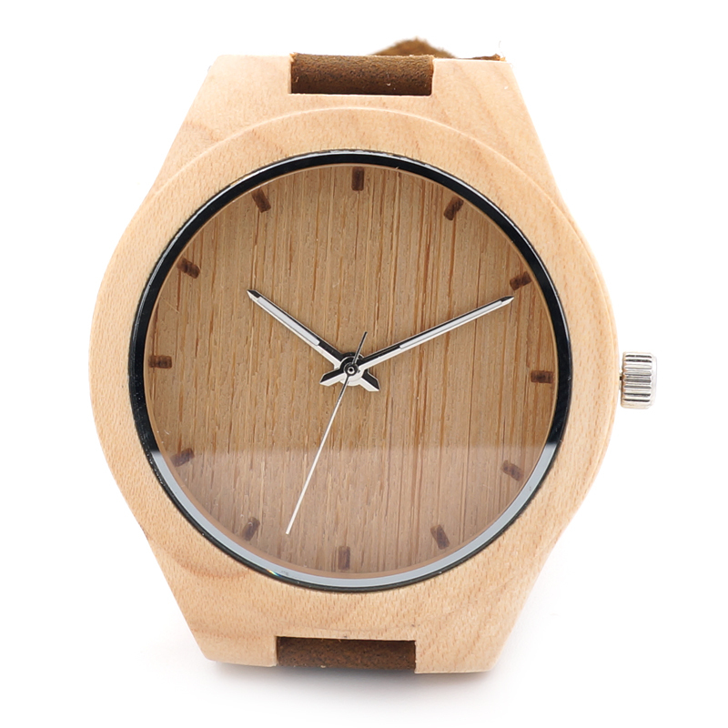 BOBO BIRD Mens 43mm Diameter Maple Wood Wristwatch Japan Movement 2035 Quartz Watch for Men with Leather Strap in Gift Box bobo bird f08 mens ebony wood watch japan movement 2035 quartz wristwatch with leather strap in gift box free shipping