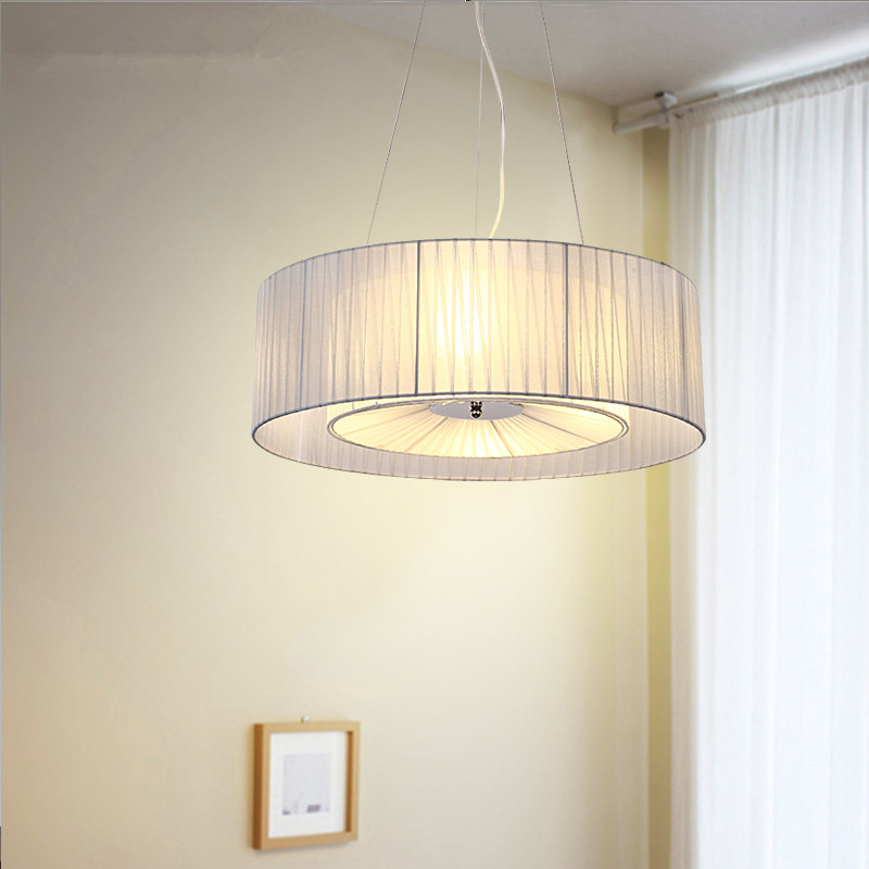 Modern Round Pendant Light For Bedroom Living Room Fabric Lamp Shade Hanging Pendant Lamp Light Fixtures Lustres