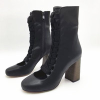 Fashion Cut Outs Suede Leather Boots Round Toe Chunky Heels Mid Calf Zipper Boots Cross tied Solid Runway Women Shoes