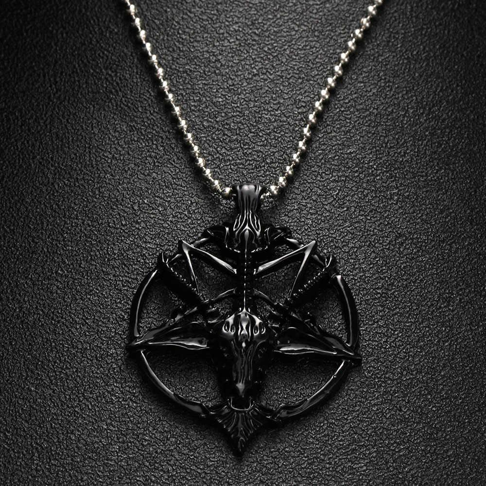 1 PC modny naszyjnik Pentagram Pan bóg czaszka koza głowa naszyjnik szczęście satanizm okultystyczny Metal Vintage Star naszyjnik