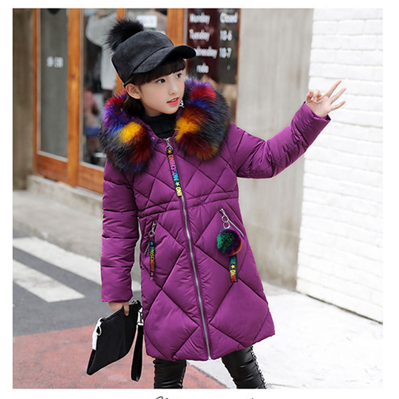 Winter Children's Jacket for Girl Thick Long Warm Coat Kid Fashion Girl Colorful Fur Collar Outerwear Clothes Kids Winter Parkas girl duck down jacket winter children coat hooded parkas thick warm windproof clothes kids clothing long model outerwear