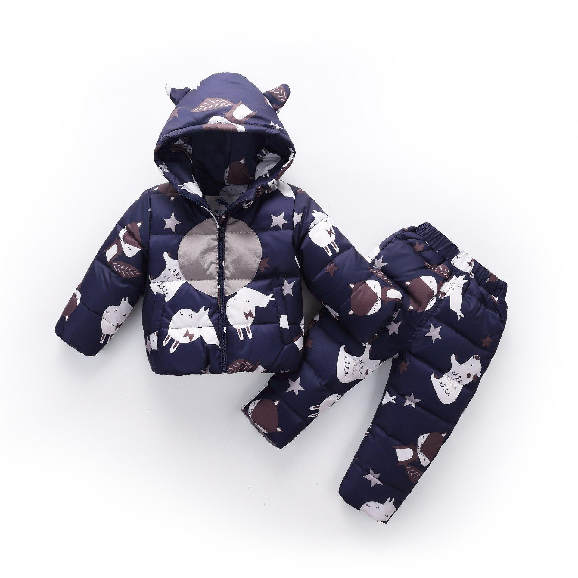 1-4y bébé garçons filles vêtements ensembles hiver Cartoon chaud doudoune enfants pantalons + manteaux vêtements à capuche fille vêtements marque ensemble