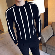 2018 Autumn and Winter Mens Fashion Striped Boutique Wool Blend Casual Round Neck Knitted Sweaters / Mens Slim Warm Sweater