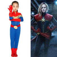 S XXL kids Children Halloween Captain Marvel costume for Girls The Avengers Cosplay Carnival Purim Parade stage play Party dress