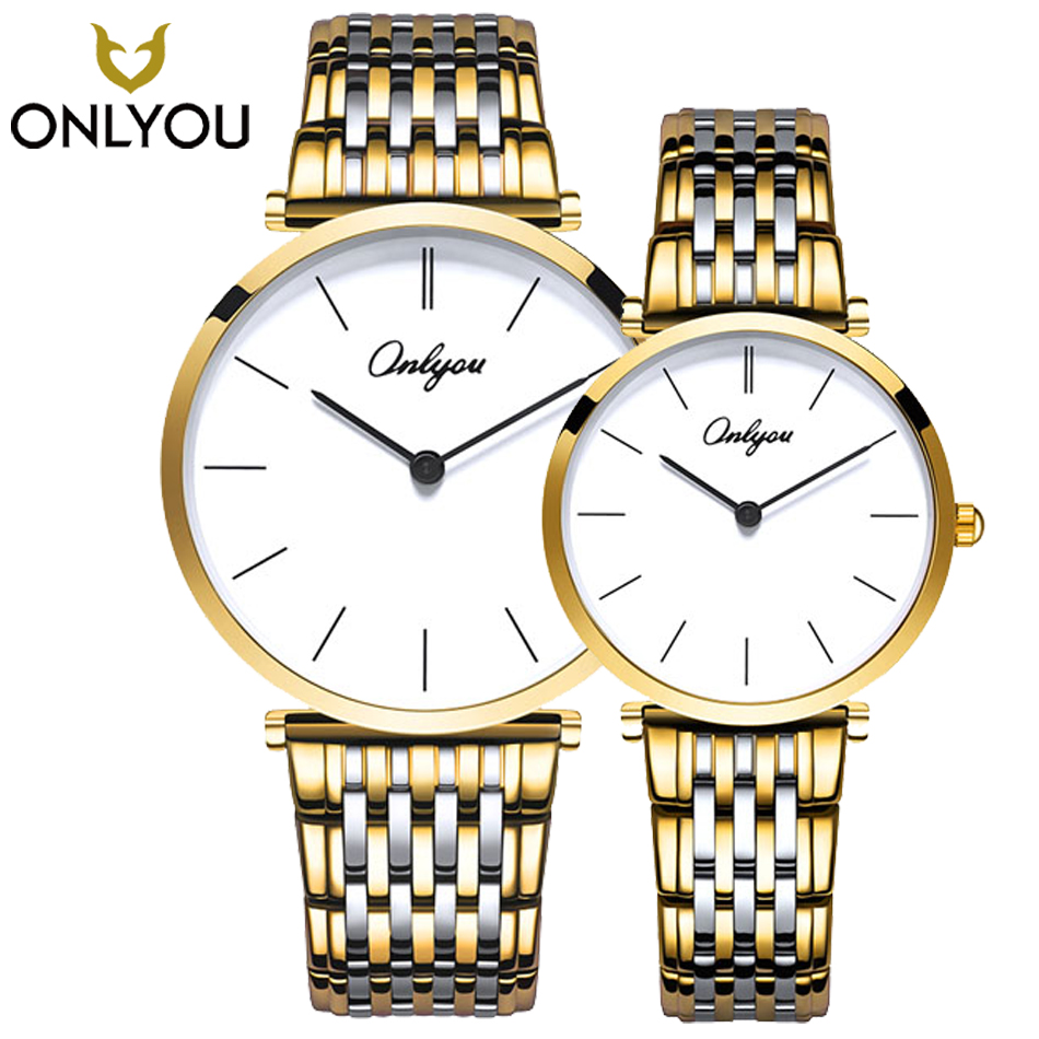 ONLYOU 2PCS Fashion Gold Men Watch Top Brand Luxury Business Leisure Ladies Quartz Wristwatch Female Steel Bracelet Couple Watch women men quartz silver watches onlyou brand luxury ladies dress watch steel wristwatches male female watch date clock 8877