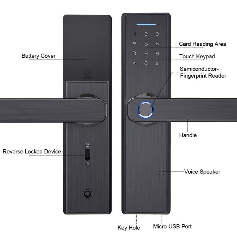 Wifi Tuya APP Electronic Door Lock Biometric Fingerprint 13.56mhz IC Card Password Mobile Phone Unlock Remotely Smart Home