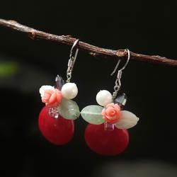 Amxiu Роскошные полудрагоценные камни красные Висячие серьги пресноводный жемчуг 925 пробы серебряные серьги для вечерние аксессуары
