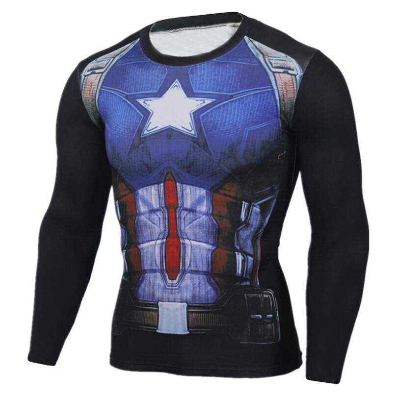 Captain America 3D Printed T-Shirts Men Compression Shirt Short Sleeve Tops G ym Bodybuilding T Shirt Anime