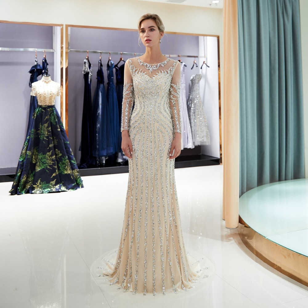 Perlée robes de soirée de luxe gris/Champagne sirène cristal balayage Train manches longues gris transparent cou bal formel robe de soirée - 4