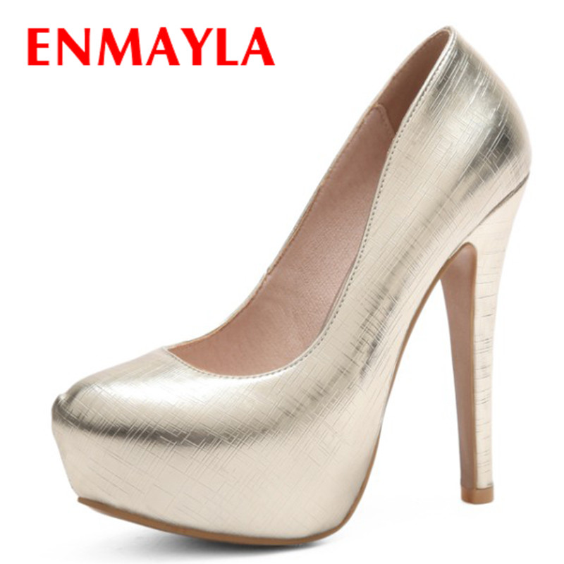 ENMAYLA Platform Shoes Women Summer Pumps Peep Toe Stiletto High Heels Red Party Wedding Large Size 34-47 Gold Shoes enmayer summer women pumps shoes mixed colors peep toe slip on thin heels platform large size 34 47 red pink green brown