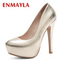 ENMAYLA Platform Shoes Women Summer Pumps Peep Toe Stiletto High Heels Red Party Wedding Large Size 34 47 Gold Shoes