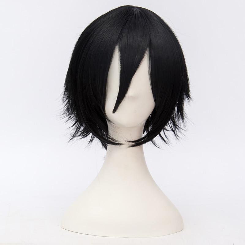 anime hair 30cm short wavy black