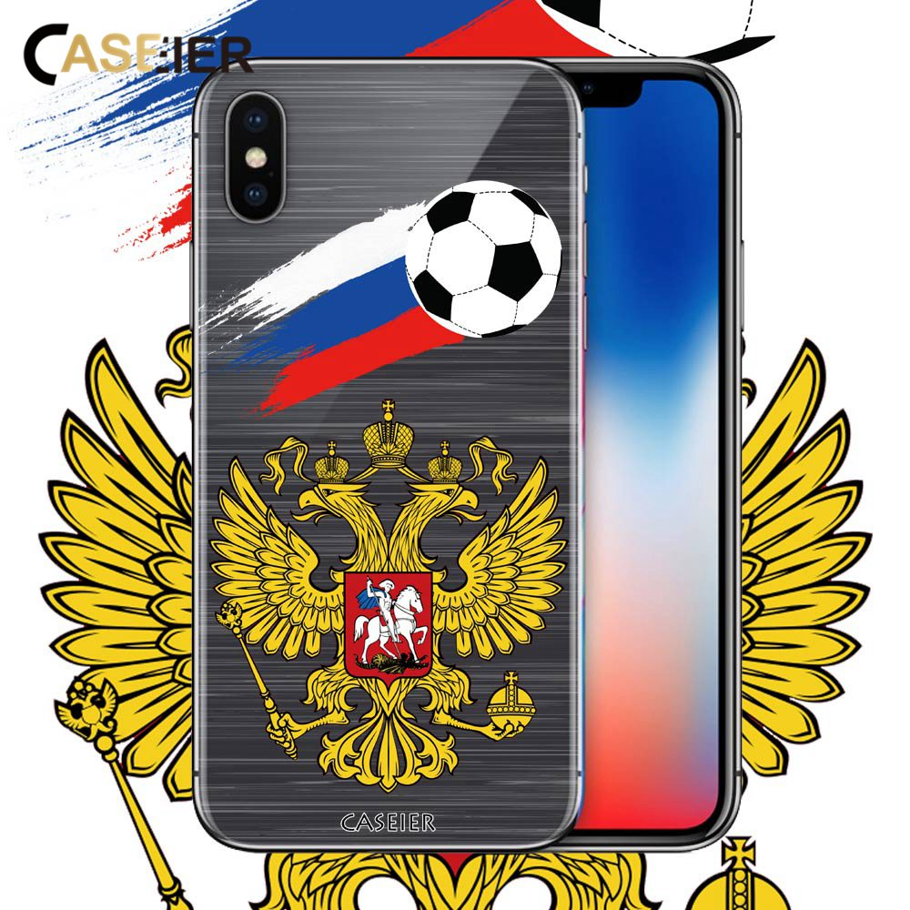 CASEIER Football Phone Case For iPhone 5 5s SE Soccer Soft TPU Cover For iPhone 6 6s 7 8 Plus Russian Cases Funda Accessories