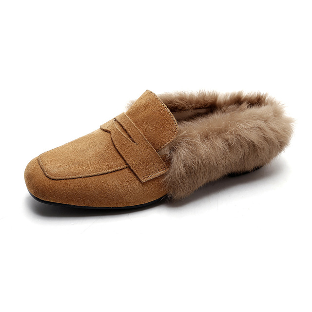 29c37a4e8 Women Suede Mules Rabbit Fur Leather Sheepskin Moccasin Female Closed Toe  Slides Winter Outdoor Slippers Fashion Flats Shoes