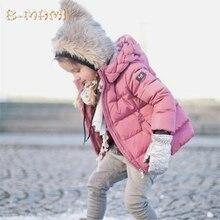 Девушки зимняя куртка Ребенка Девушка пуховики Пальто Парки С Капюшоном детские пуховик Дети Вниз Куртки Девушки снег износ младенца пальто