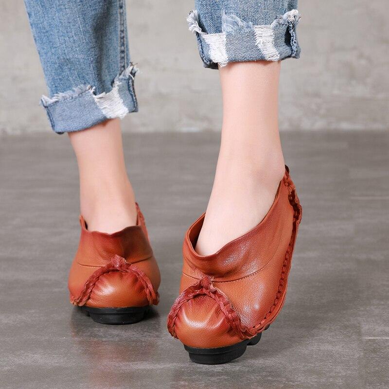 Ayakk.'ten Kadın Topuksuz Ayakkabı'de Son Kendi Tasarım düz ayakkabı Kadın 2018 Hakiki Deri Konfor kadın ayakkabısı Yeni Varış Retro Tarzı Bayan Daireler'da  Grup 1