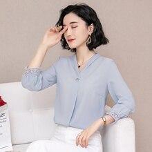 Nine-Sleeve Chiffon Blouse Female hollow out lace women tops apricot chiffon v-neck blouses shirt  Spring Garment 2019 New 52H3