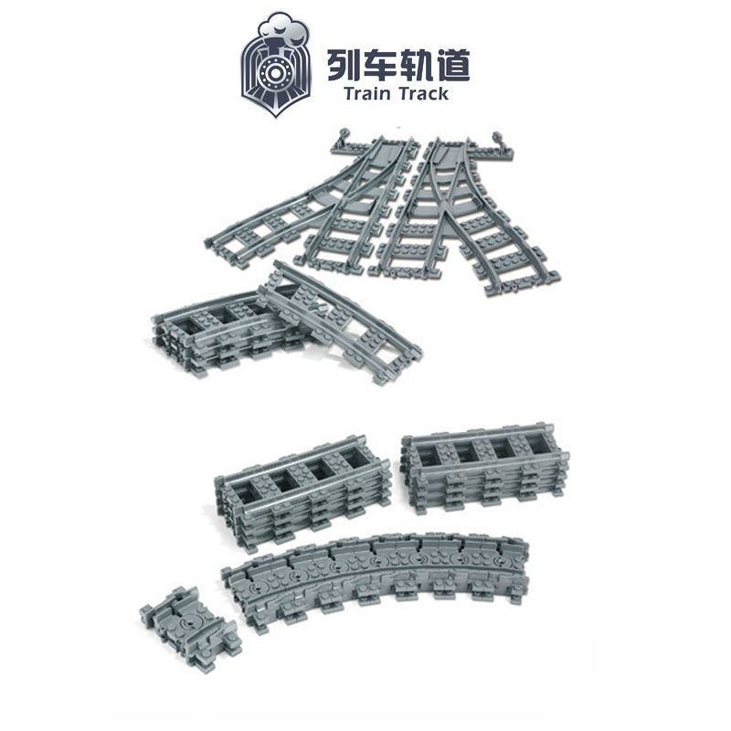 City Trains Train Flexible Track Rail Crossing Straight Curved Rails Building Blocks Set Bricks Model Kids Toys Compatible Legoe