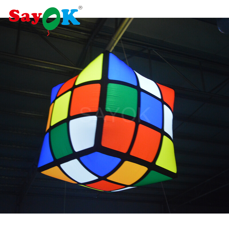 1m 3 28ft New design led inflatable cube inflatable magic cube inflatable cube for event pub