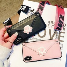 Cat Claw Cell Wallet Phone Case For iphone crossbody case Xs Max XR 6 6s X 7 8 Plus Leather Card Slot With Shoulder Strap Cover