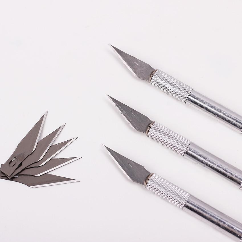 1 Set Metal Handle Scalpel Blade Knife Wood Paper Cutter Craft Pen Engraving Cutting Supplies DIY Stationery Utility Knife