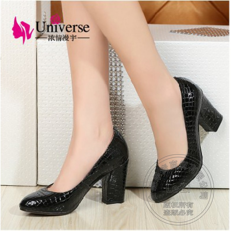 2016 Crocodile Skin Alligator Chunky Single Small Plus Size High Square Heel Ladies Shoes With Thick