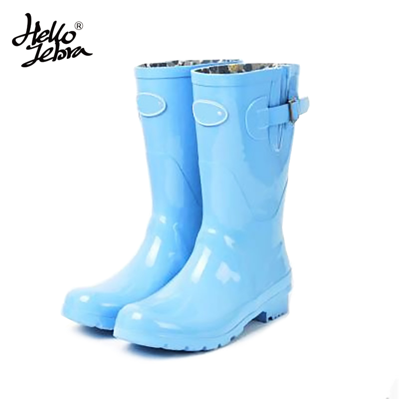 Women Mid Calf Rain Boots Ladies Waterproof Welly Solid Buckle High Style Nubuck Low Heels Rainboots 2016 New Fashion Design women tall rain boots ladies low hoof heels waterproof graffiti buckle high nubuck round toe rainboots 2016 new fashion design