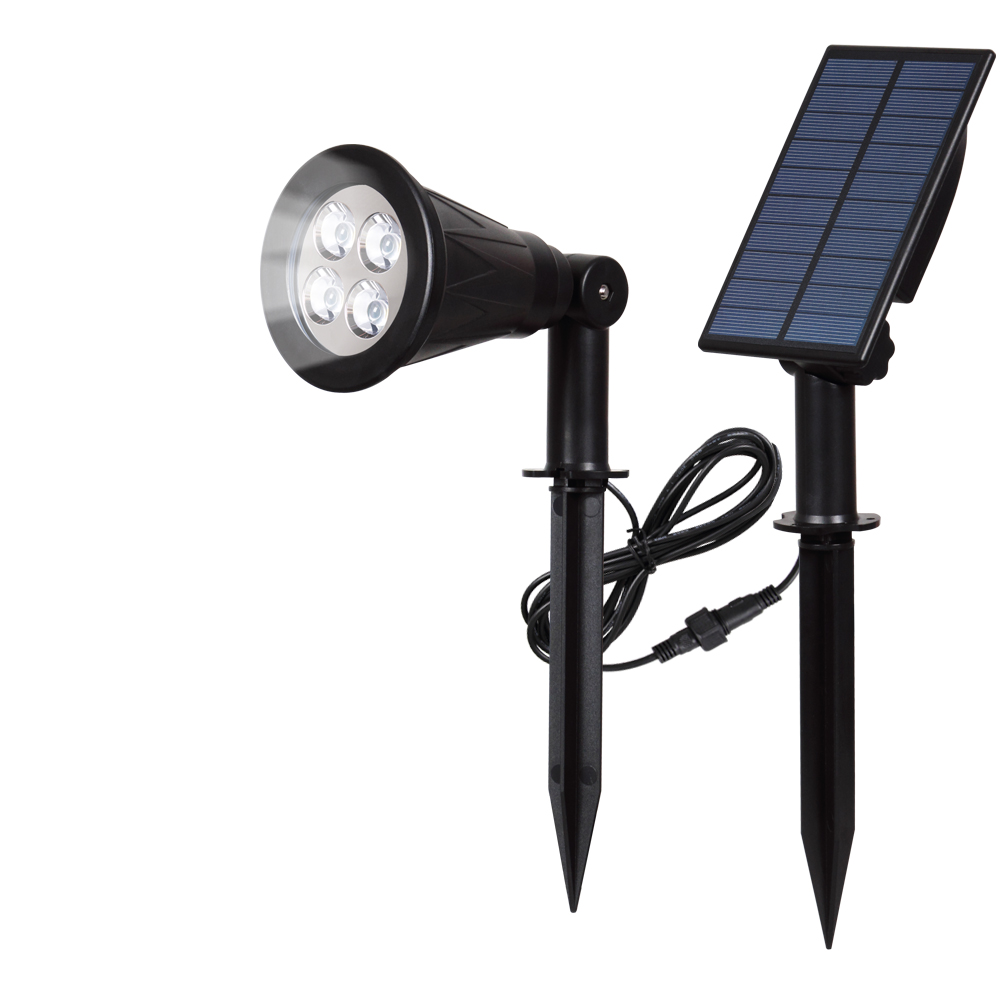 T-SUN Solar Spotlights Waterproof Outdoor Security Landscape Lamps Auto-on/Auto-off ByDay Adjustable for Garden Driveway Stairs