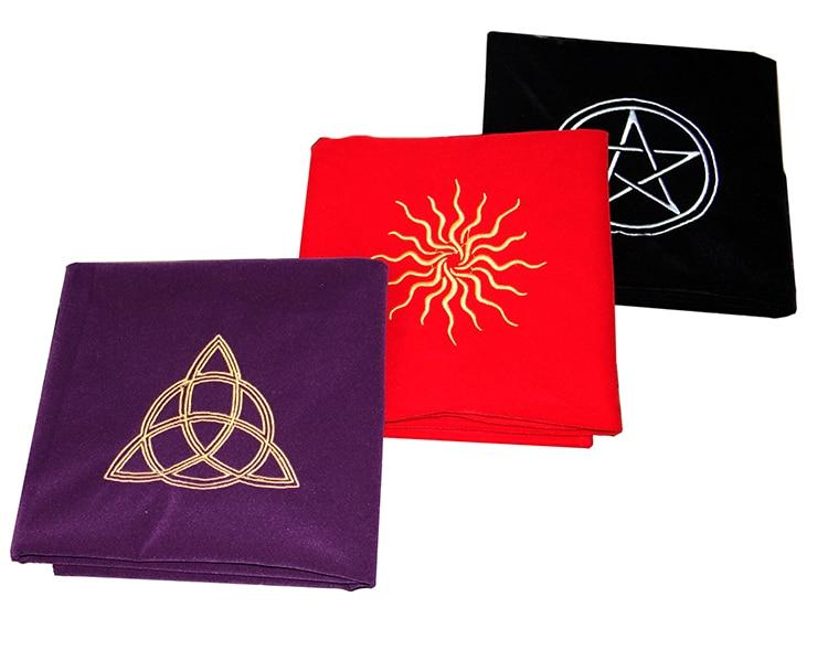600x600mm Altar Pentáculo Sol Tarot tarjetas de mesa de fiesta tela mantel adivinación Wicca de tapiz de juego mat rojo