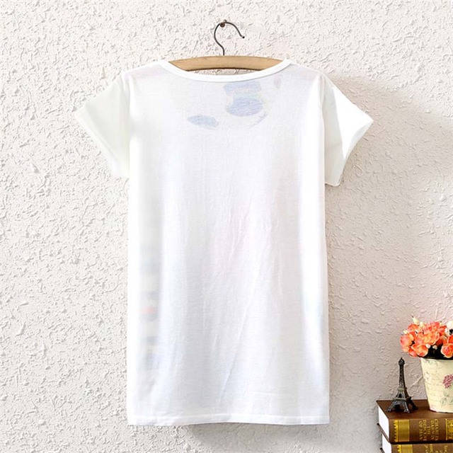 Cotton T-Shirt Women Short Sleeve  Causal loose Tie Unicorn