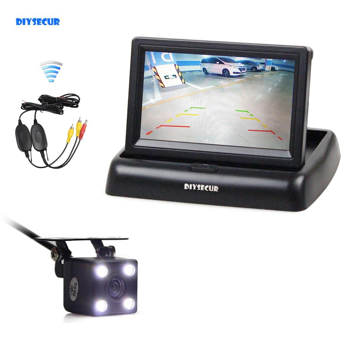 DIYSECUR Kit de caméra de recul de voiture sans fil 4.3 pouces moniteur de voiture écran LCD LED de sécurité Vision nocturne caméra de recul de voiture