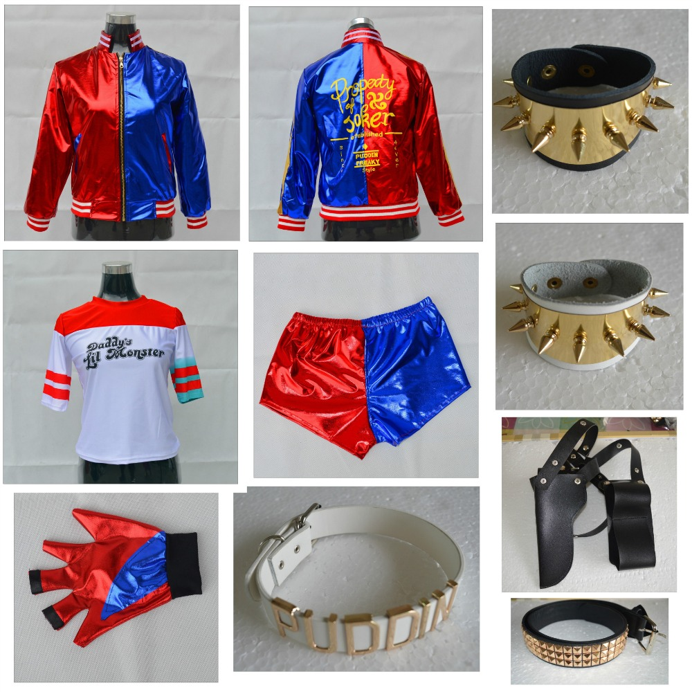 2019 Kids Adults Suicide Squad Cosplay Harley Quinn Cosplay Costume Jacket Coat T-Shirt Top Shorts Pants Gloves Accessories Set