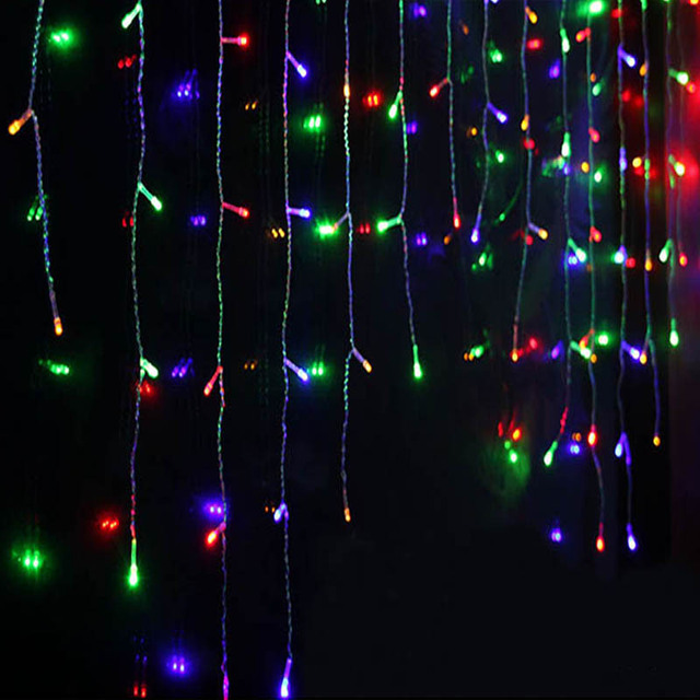 5M 96 LED Curtain Icicle String Lights Christmas Fairy Lamp Holiday Home Wedding Party Decorative String Lights EU Plug 220V