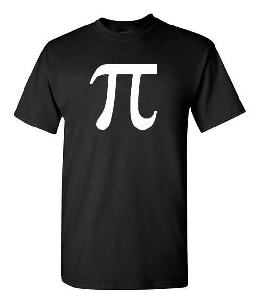 T-Shirt Classic Math Science Pi Letter T Shirts Men Cotton O Neck Man Tees Mens Tshirt Tops