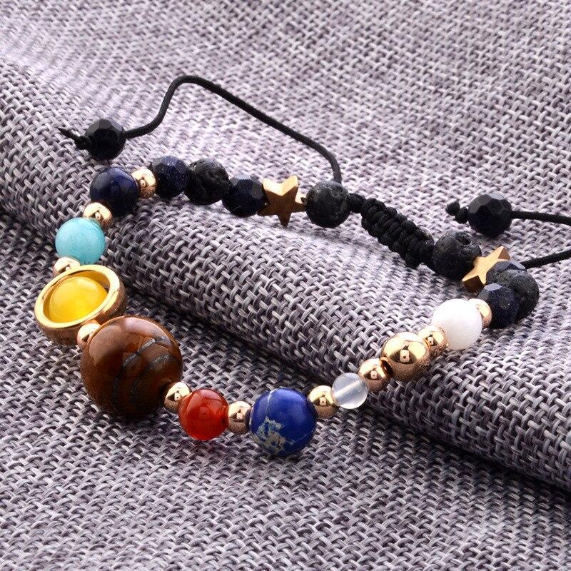 Utimtree Brand Stone Galaxy Beads Bracelet Universe Eight Planets Solar System Guardian Star Bangle Bracelet for Women Men