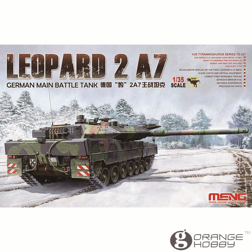 OHS Meng TS027 1/35 German Main Battle Tank Leopard 2 A7 Assembly Scale AFV Model Building Kits ohs meng ts015 1 35 german main battle tank leopard 1 a5 military afv model building kits
