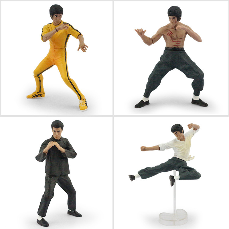 4pcs/set china Kung fu Bruce Lee super star Action Figure Toys Collective Model Toys With Box Gift For Boy Free Shipping hardin collective action