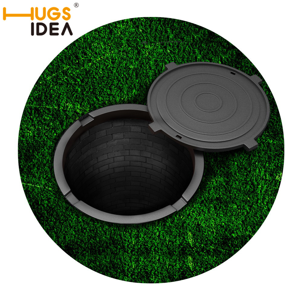 HUGSIDEA 3D Funny Trap/Heart Round Carpet Green Gray Stone Printed Rubber Doormat Outdoor Carpets and Rugs for Home Kids Bedroom