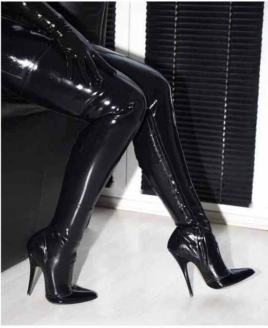 0aeff71a9970 Shoe factory wholesale 12 cm pointed black patent leather high heel boots  thigh boots female boots 12 cm high-heeled boots
