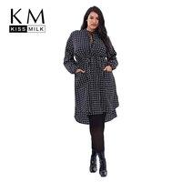 Kissmilk Women Plus Size Plaid Button Emboridery Dress Long Sleeve Waist Tie Two Pocket Dress Large