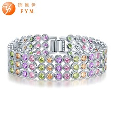 FYM 18CM Colorful/Clear White 3 Rows Round Crystal Bracelet for Women High Quality Silver Plated Cubic Zircon Bracelets & Bangle fym brand round colorful cubic zircon bracelets