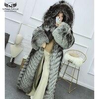 Tatyana Furclub Real Fur Coat Winter For Women Natural Sliver Fox Fur Coat With Hood Coat Fur Long Outwear Hoodie Fur Luxury Top