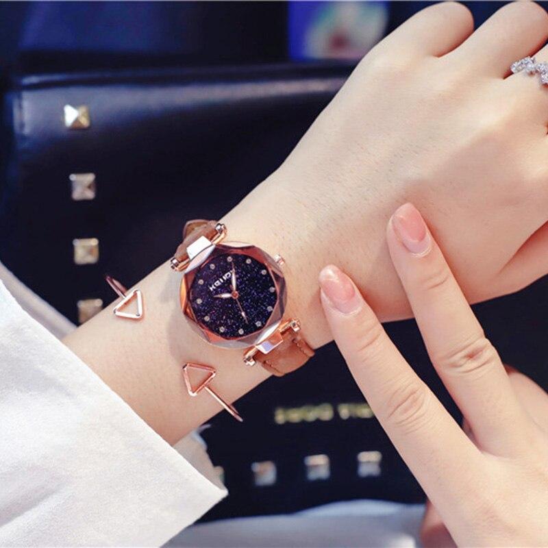 ladies watch for starry sky watch luxury quartz watch women fashion casual leather rhinestone female clock zegarek damski 2018 3