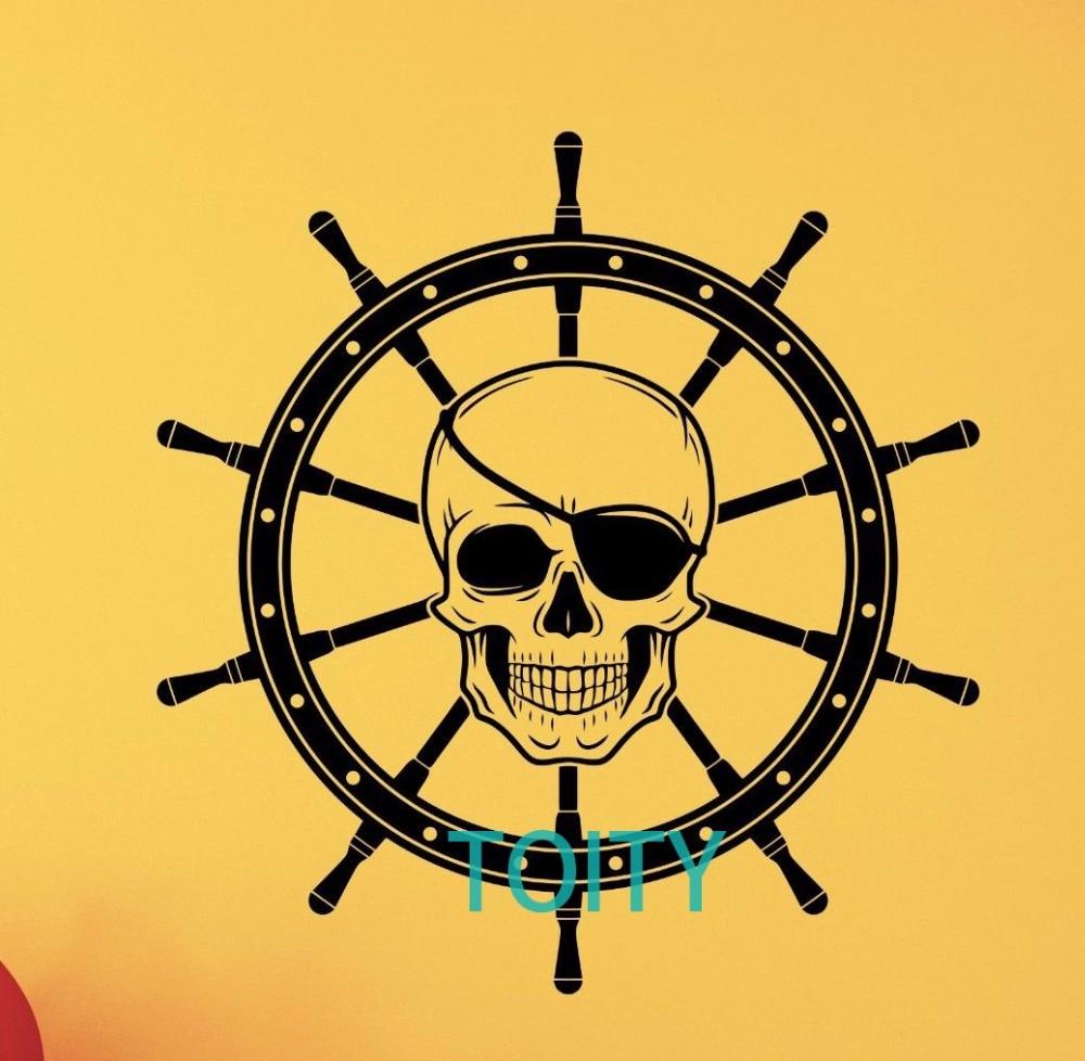 Pirate Skull Wall Decal Ship Wheel Nursery Decor Nautical Vinyl ...