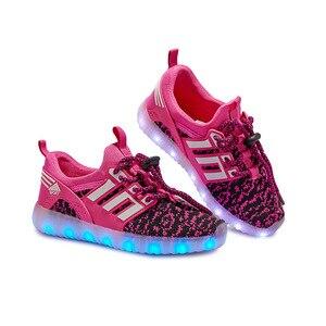 Image 5 - Größe 25 37 Kinder LED Schuhe für Jungen Mädchen USB Ladegerät Schoenen Kinder Chaussure Enfant Luminous Glowing Sneaker mit licht Sohle